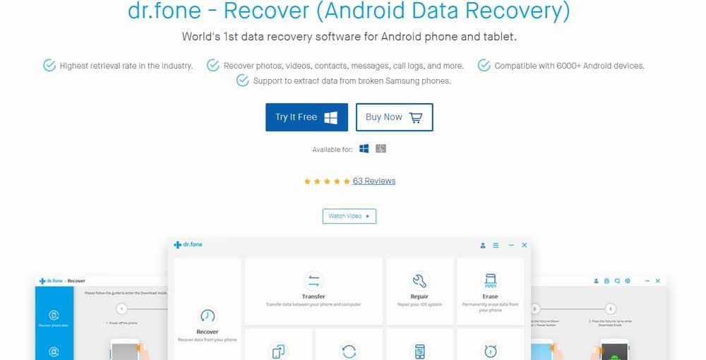 Программа для восстановления доступа к телефону Dr.fone toolkit