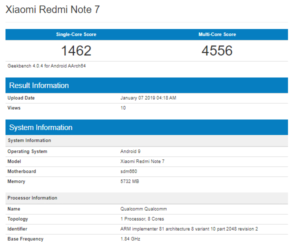 Geekbench Xiaomi Redmi Note 7